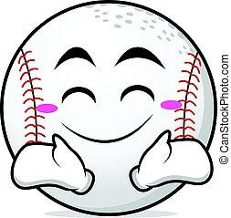 Happy face baseball cartoon character