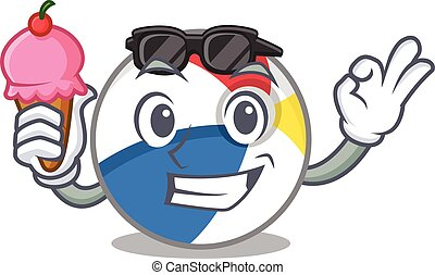 happy face beach ball cartoon design with ice cream