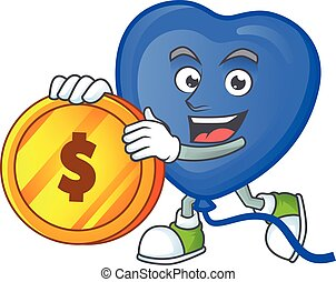 happy face blue love balloon cartoon character with gold coin