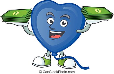 Happy face blue love balloon character with money on hand