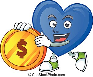 happy face blue love cartoon character with gold coin