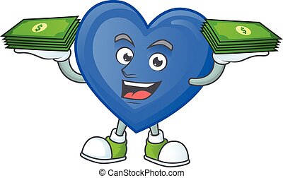 Happy face blue love character with money on hand