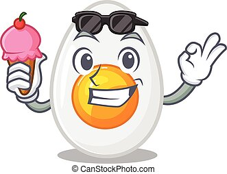happy face boiled egg cartoon design with ice cream