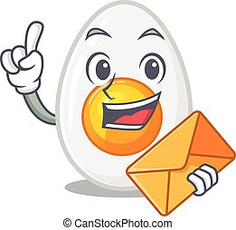 Happy face boiled egg mascot design with envelope