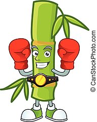 Happy Face Boxing bamboo stick cartoon character design