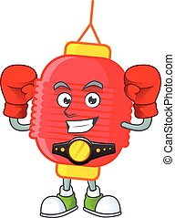 Happy Face Boxing chinese lantern cartoon character design