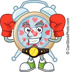 Happy Face Boxing clock love cartoon character design