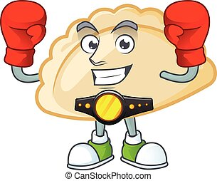 Happy Face Boxing pierogi cartoon character design. Vector illustration