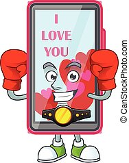 Happy Face Boxing smartphone love cartoon character design