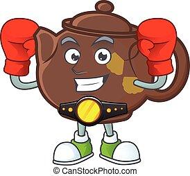 Happy Face Boxing teapot cartoon character design