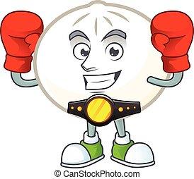 Happy Face Boxing white hoppang cartoon character design