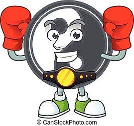 Happy Face Boxing yin yang cartoon character design