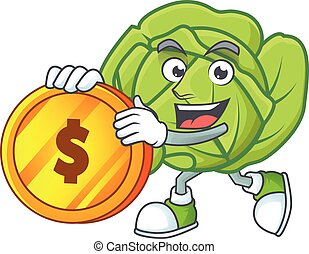 happy face cabbage cartoon character with gold coin