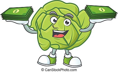 Happy face cabbage character with money on hand