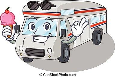 happy face campervan cartoon design with ice cream