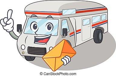 Happy face campervan mascot design with envelope