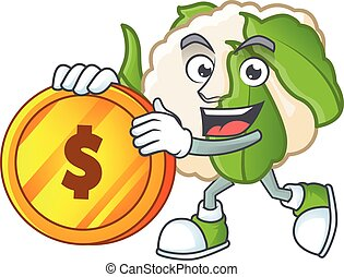 happy face cauliflower cartoon character with gold coin