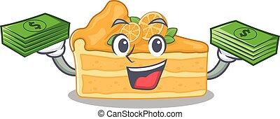 happy face cheesecake orange character having money on hands