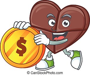 happy face chocolate bar love cartoon character with gold coin