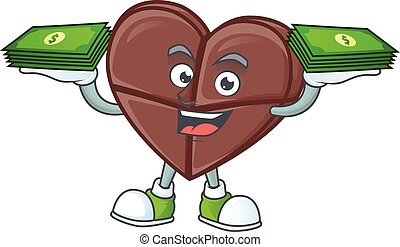 Happy face chocolate bar love character with money on hand
