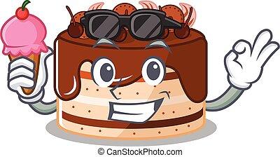 happy face chocolate cake cartoon design with ice cream