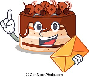 Happy face chocolate cake mascot design with envelope