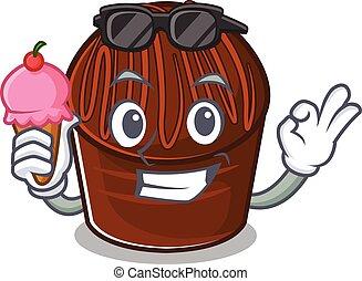 happy face chocolate candy cartoon design with ice cream