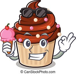 happy face chocolate cupcake cartoon design with ice cream