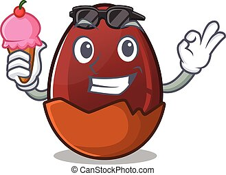 happy face chocolate egg cartoon design with ice cream
