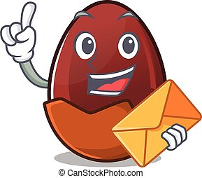 Happy face chocolate egg mascot design with envelope