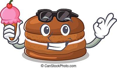 happy face chocolate macaron cartoon design with ice cream