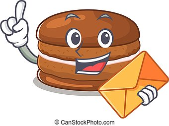 Happy face chocolate macaron mascot design with envelope