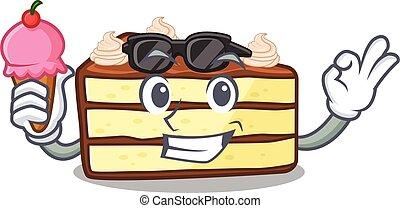 happy face chocolate slice cake cartoon design with ice cream