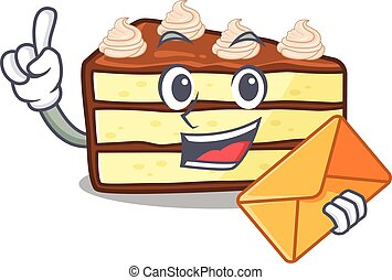 Happy face chocolate slice cake mascot design with envelope