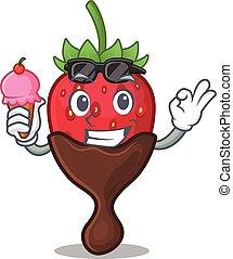 happy face chocolate strawberry cartoon design with ice cream