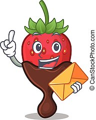 Happy face chocolate strawberry mascot design with envelope
