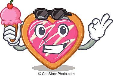 happy face cookie heart cartoon design with ice cream