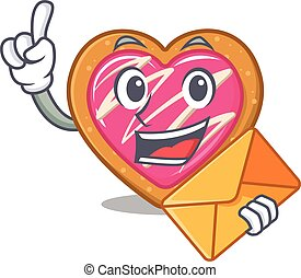 Happy face cookie heart mascot design with envelope