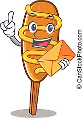 Happy face corn dog mascot design with envelope