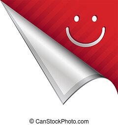 Happy face corner tab - Smiley face emoticon icon on vector...