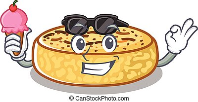 happy face crumpets cartoon design with ice cream