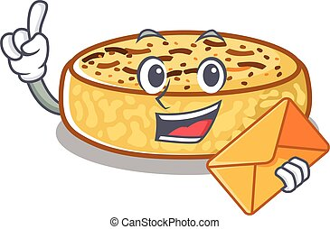 Happy face crumpets mascot design with envelope