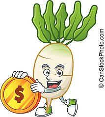 happy face daikon cartoon character with gold coin