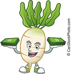Happy face daikon character with money on hand