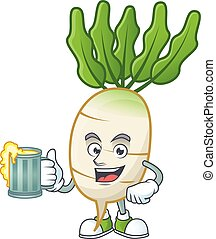 Happy face daikon with a glass of beer