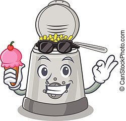 happy face deep fryer cartoon design with ice cream