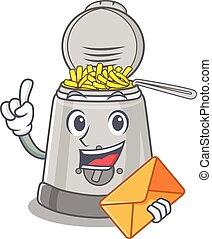 Happy face deep fryer mascot design with envelope