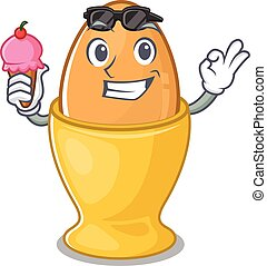 happy face egg cup cartoon design with ice cream