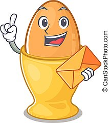 Happy face egg cup mascot design with envelope