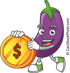 happy face eggplant cartoon character with gold coin